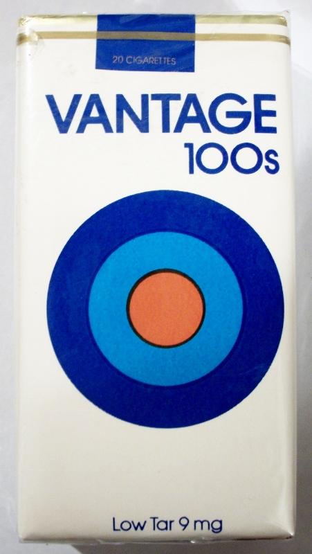 Vantage 100's low tar - vintage American Cigarette Pack