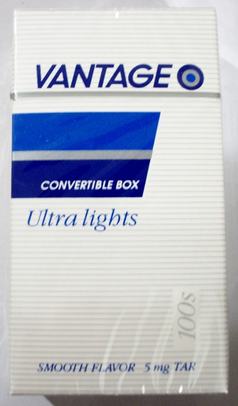 Vantage Convertible Box 100's, Ultra Lights - vintage American Cigarette Pack