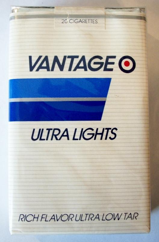 Vantage Ultra Lights, Rich Flavor - vintage American Cigarette Pack