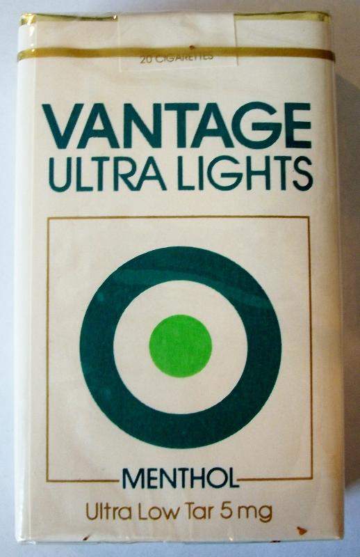 Vantage Ultra Lights Menthol - vintage American Cigarette Pack