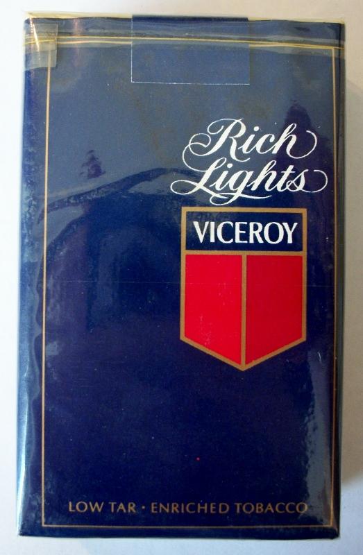 Viceroy Rich Lights, king size - vintage American Cigarette Pack