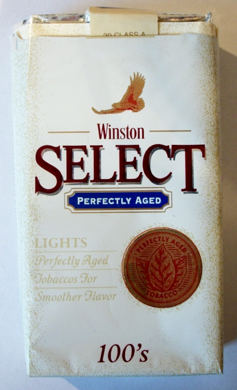 Winston Select Lights 100's, Perfectly Aged - vintage American Cigarette Pack