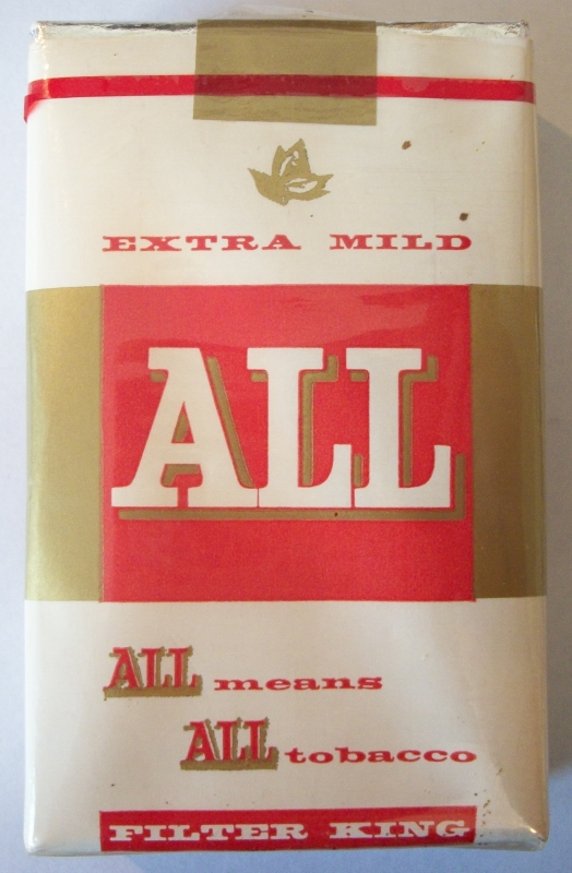ALL Extra Mild Little Cigars, King Size - vintage American Cigarette Pack