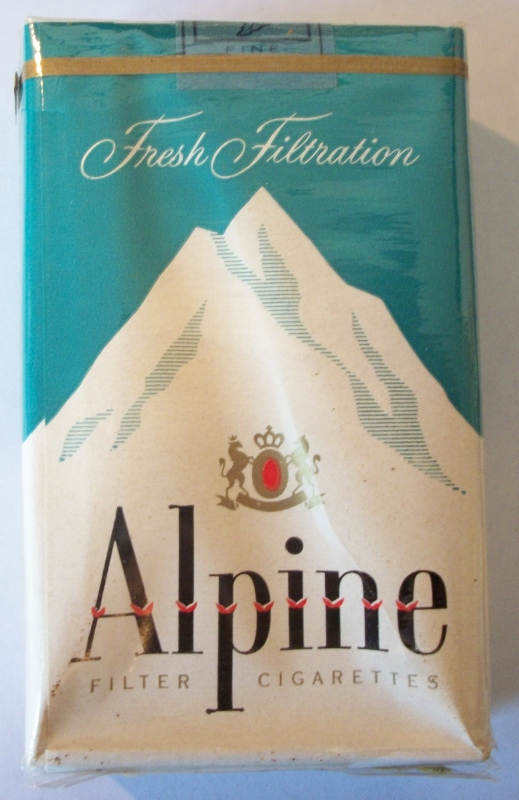 Alpine Fresh Filtration 1959-60, light menthol - vintage American Cigarette Pack
