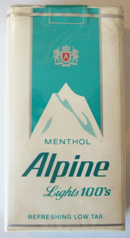 Alpine Menthol Lights 100's - vintage American Cigarette Pack
