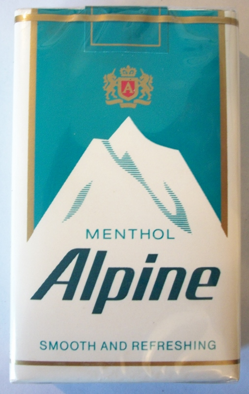 Alpine Menthol Smooth and Refreshing, kings - vintage American Cigarette Pack