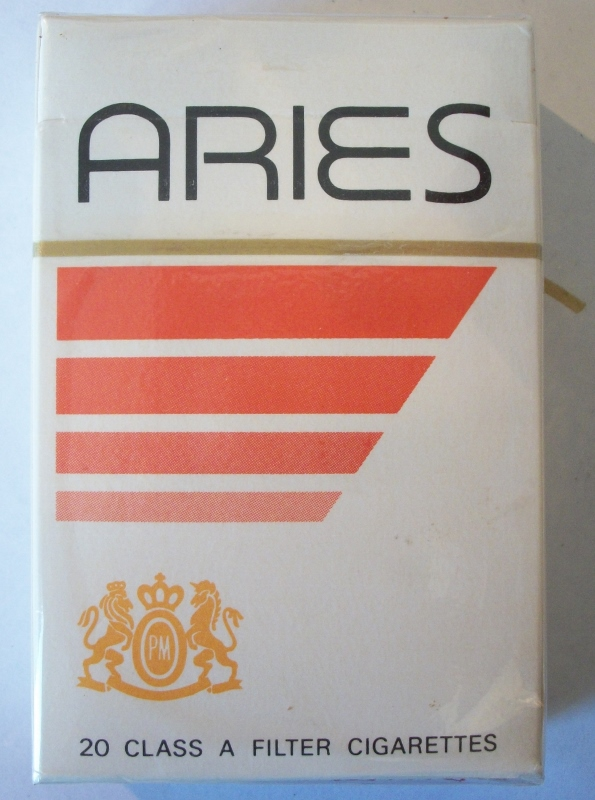 Aries filter box, king size - vintage American Cigarette Pack