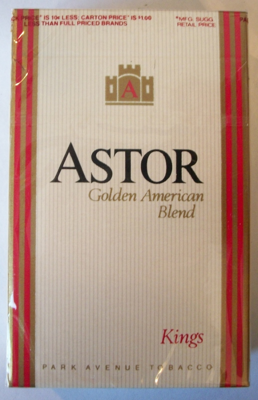 Astor Golden American Blend, Kings - vintage American Cigarette Pack
