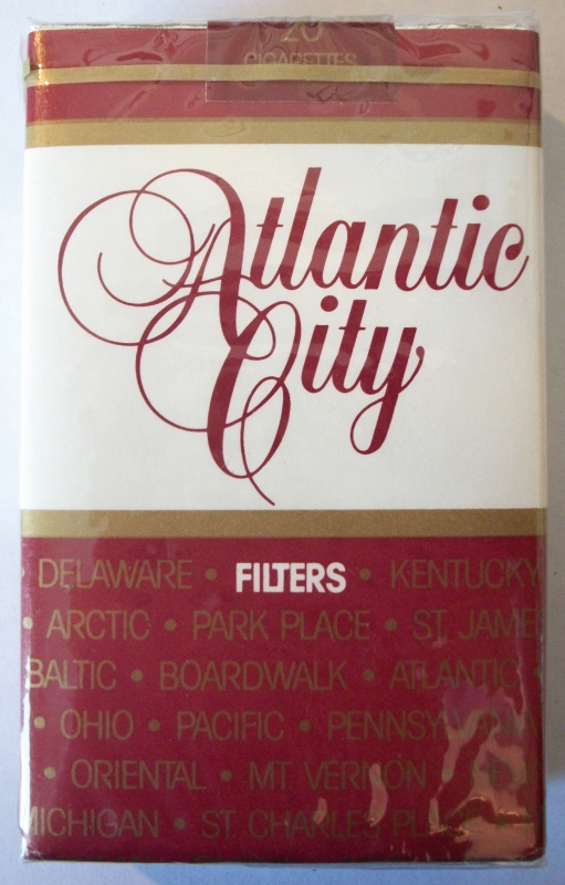 Atlantic City Filter, king size box - vintage American Cigarette Pack
