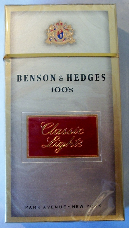 Benson & Hedges 100's Classic Lights box - vintage American Cigarette Pack