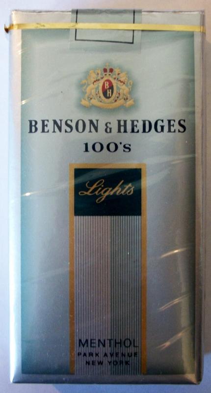 Benson & Hedges 100's Lights Menthol - vintage American cigarette Pack