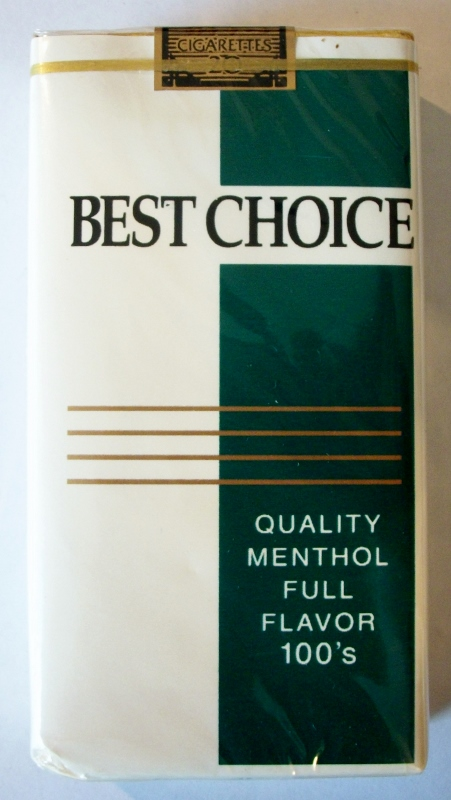 Best Choice Quality Menthol Full Flavor 100's - vintage American Cigarette Pack