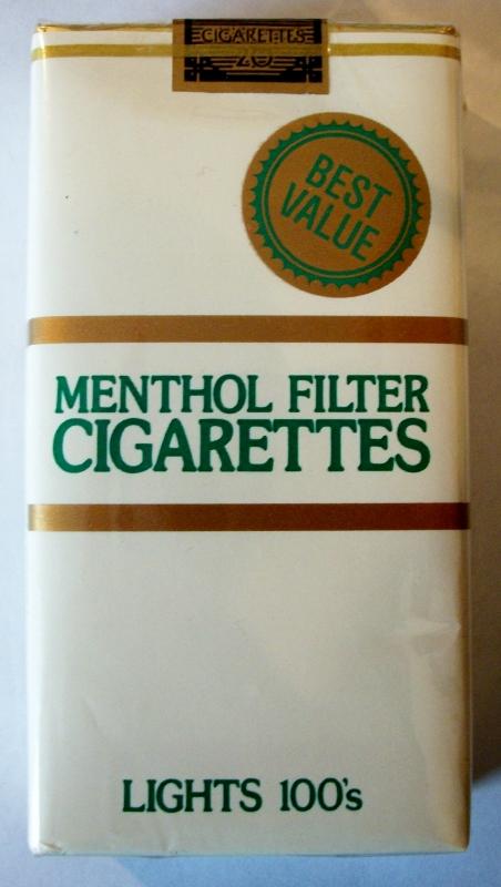 Best Value Menthol Filter Lights 100s - vintage American Cigarette Pack