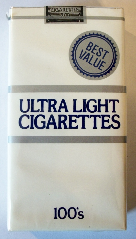 Best Value Ultra Light 100s - vintage American Cigarette Pack