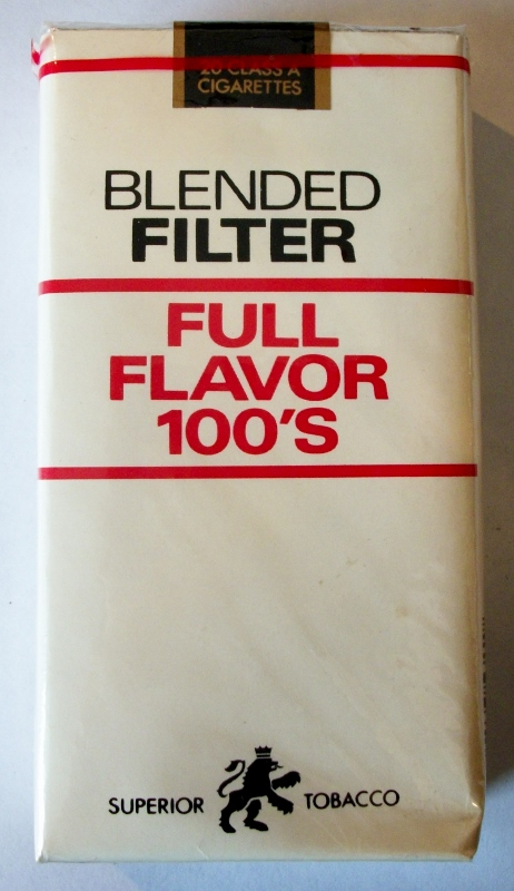 Superior Tobacco Blended Filter Full Flavor 100's - vintage American Cigarette Pack