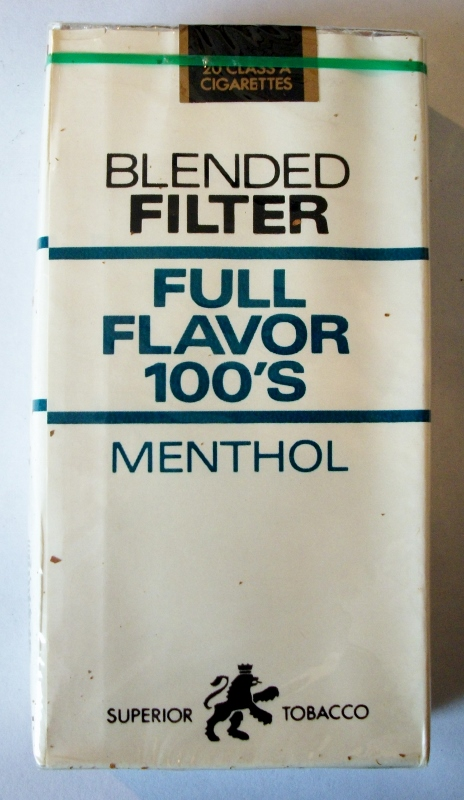 Superior Tobacco Blended Filter Full Flavor Menthol 100's - vintage American Cigarette Pack