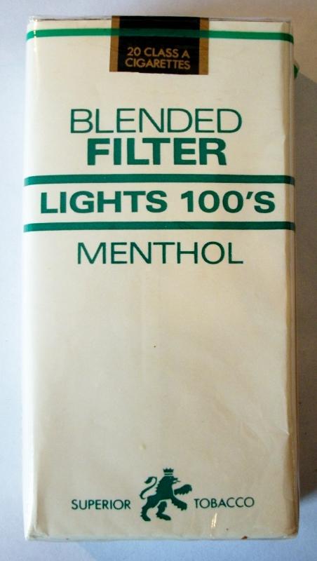 Superior Tobacco Blended Filter Lights Menthol 100's - vintage American Cigarette Pack