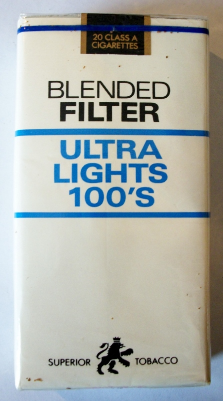 Superior Tobacco Blended Filter Ultra lights 100s - vintage American Cigarette Pack