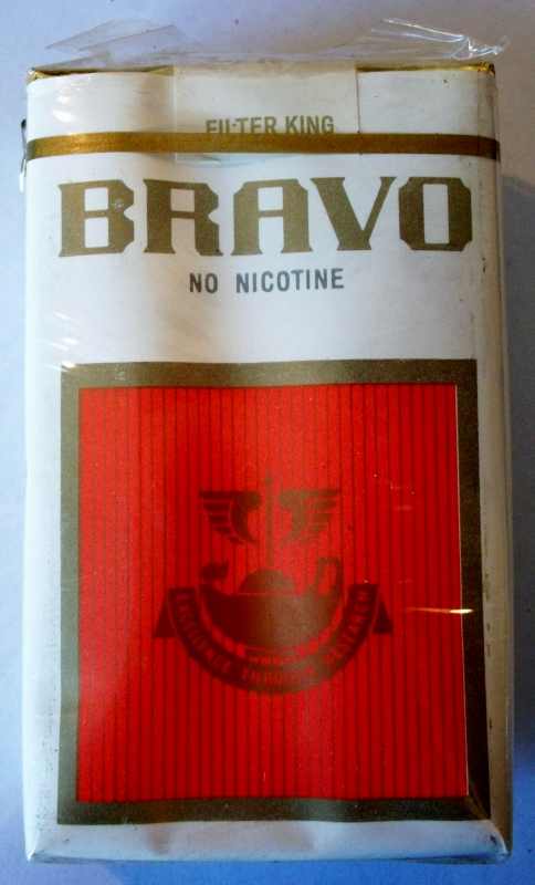 Bravo, no nicotine, filter king - vintage American Cigarette Pack