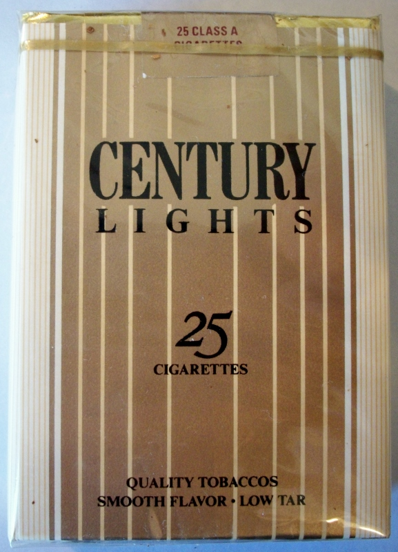 Century Lights 25-pack king size - vintage American Cigarette Pack