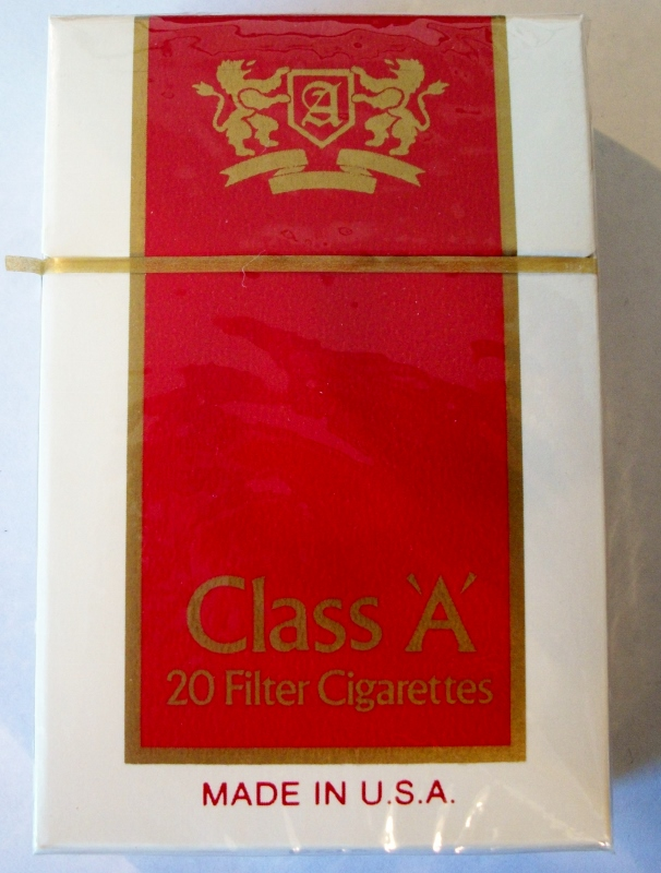 Class 'A' filter king size box - vintage Chinese Cigarette Pack