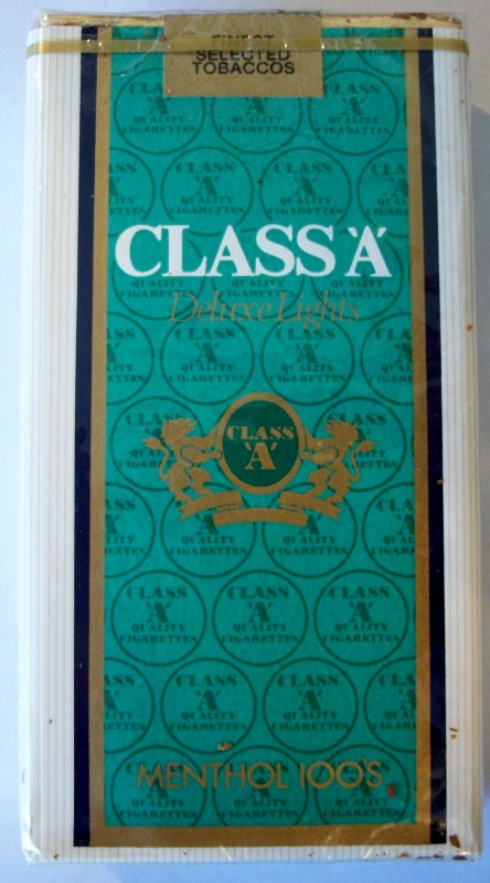 Class 'A' Deluxe Lights menthol 100s - vintage American Cigarette Pack