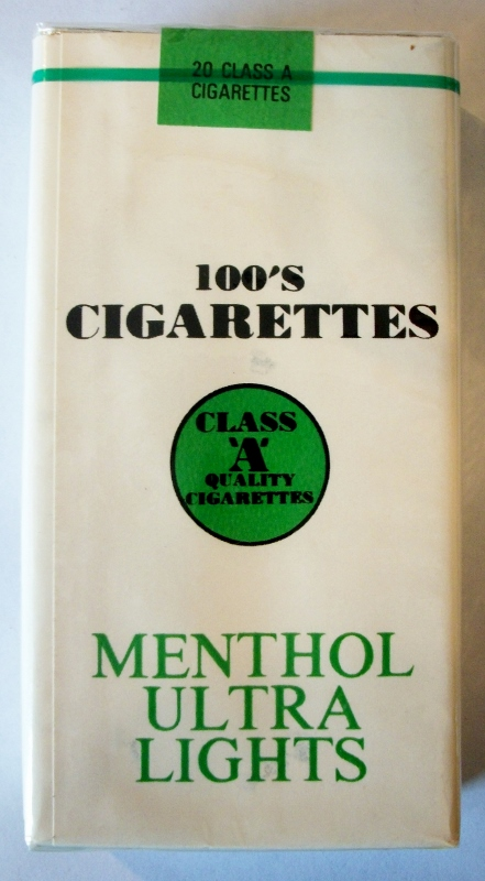 Class 'A' Quality Menthol Ultra Lights 100's - vintage American Cigarette Pack
