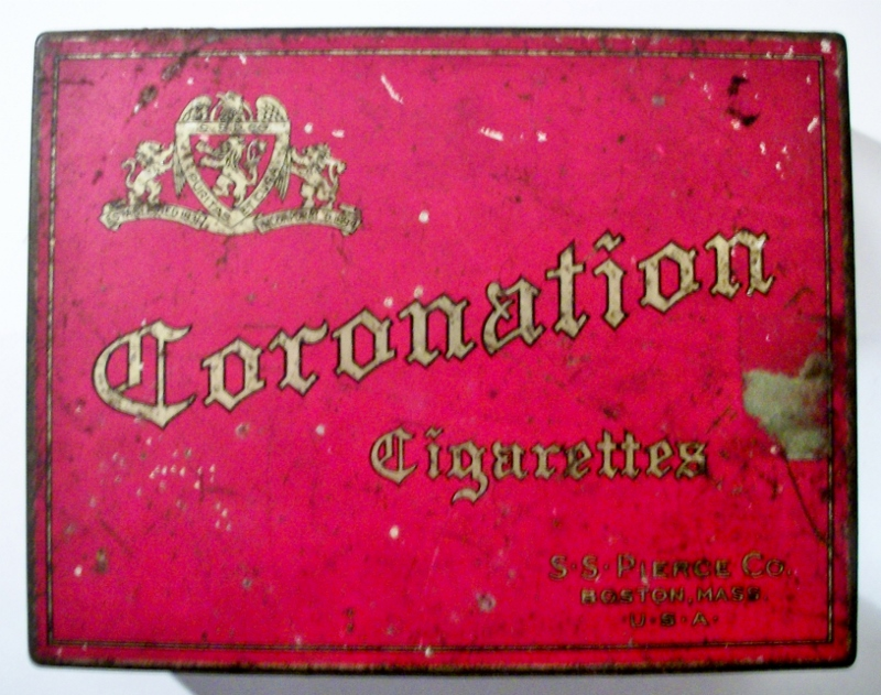 Coronation Cigarettes 100 tin S. S.  Pierce Co.