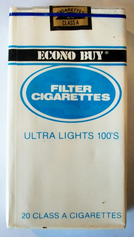 Econo Buy Filter Ultra Lights 100's - vintage American Cigarette Pack