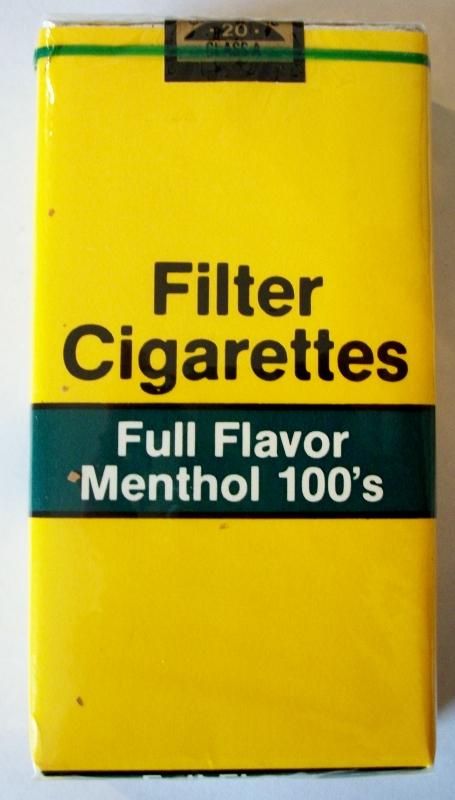 Filter Cigarettes Full Flavor Menthol 100's - vintage American Cigarette Pack