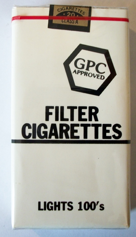GPC Approved Filter Lights 100's - vintage American Cigarette Pack