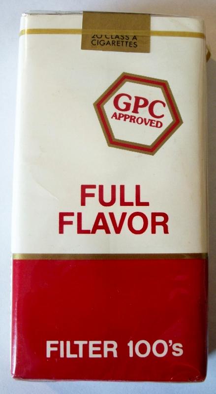GPC Full Flavor Filter 100's - vintage American Cigarette Pack