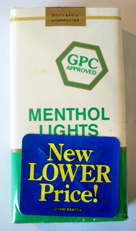 GPC Menthol Lights Filter 100's - vintage American Cigarette Pack