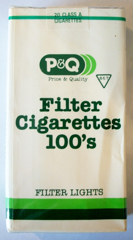 P&Q Filter Lights 100's - vintage American Cigarette Pack