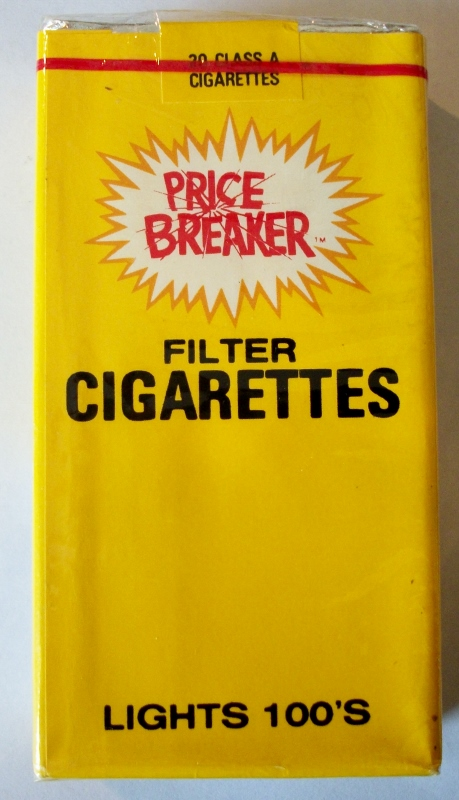 Price Breaker Filter Lights 100's - vintage American Cigarette Pack