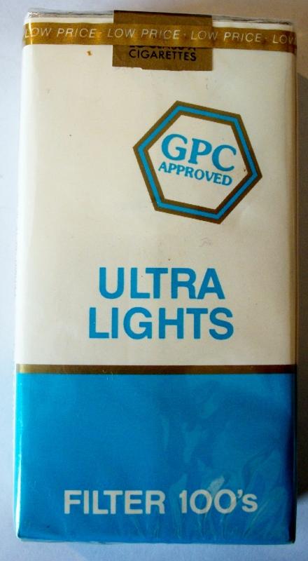 GPC Ultra Lights Filter 100's - vintage American Cigarette Pack