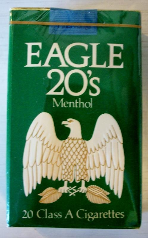 Eagle 20's Menthol, king size - vintage American Cigarette Pack