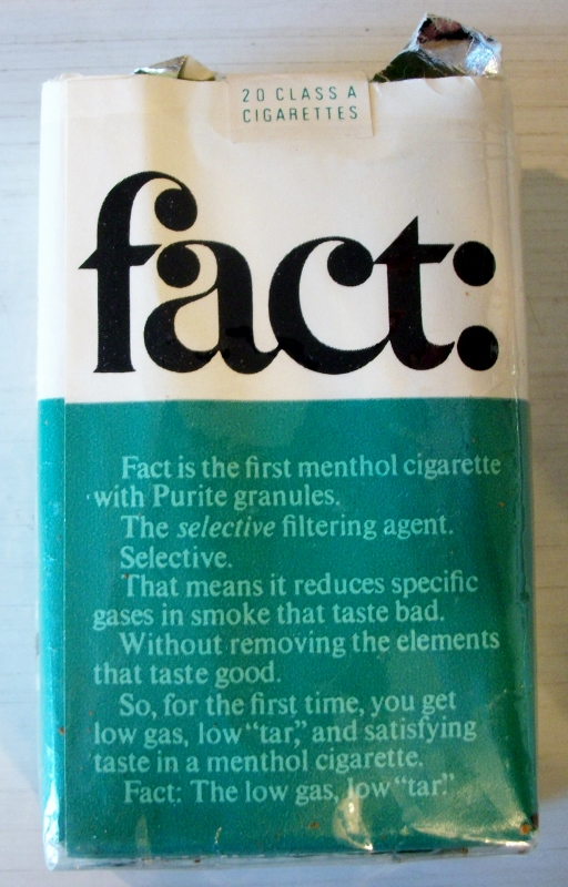 Fact: Menthol Filter king size - vintage American Cigarette Pack