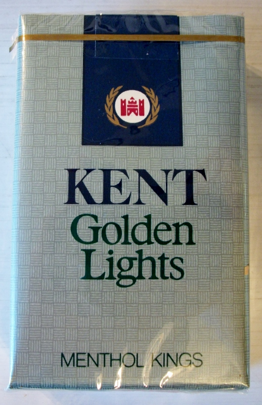 Kent Golden Lights menthol kings - vintage American Cigarette Pack