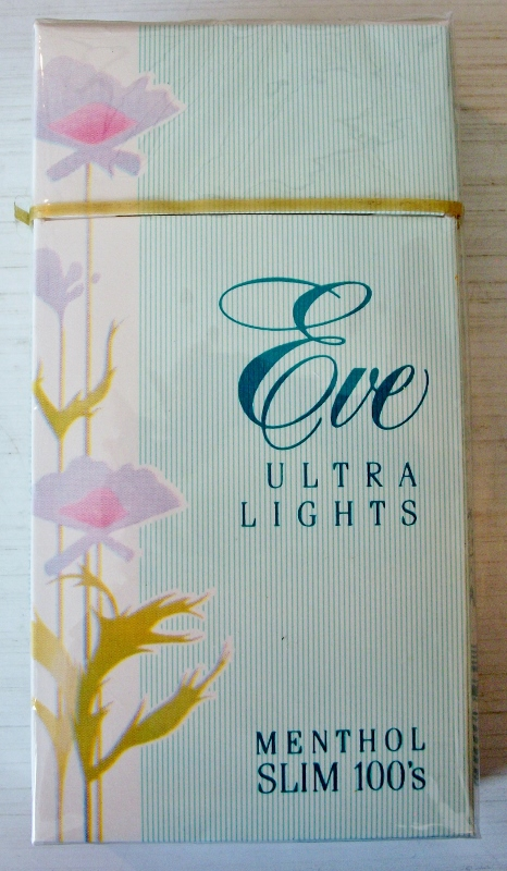 Eve Ultra Lights Menthol Slim 100's box - vintage American Cigarette Pack