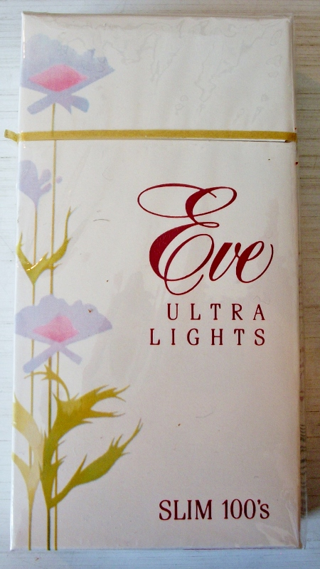 Eve Ultra Lights Slim 100s box - vintage American Cigarette Pack