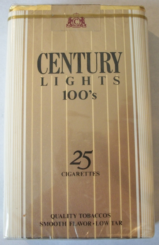 Century Lights 100's 25-pack - Vintage American Cigarette Pack