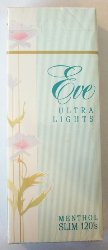 Eve Ultra Lights 120's Menthol Slim (OK stamp) - Vintage American Cigarette Pack
