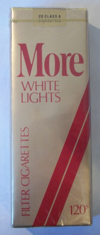 MORE White Lights 120s Filter (complimentary pack) - Vintage American Cigarette Pack