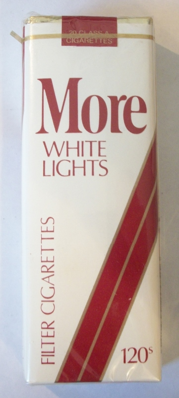MORE White Lights 120s Filter - Vintage American Cigarette Pack