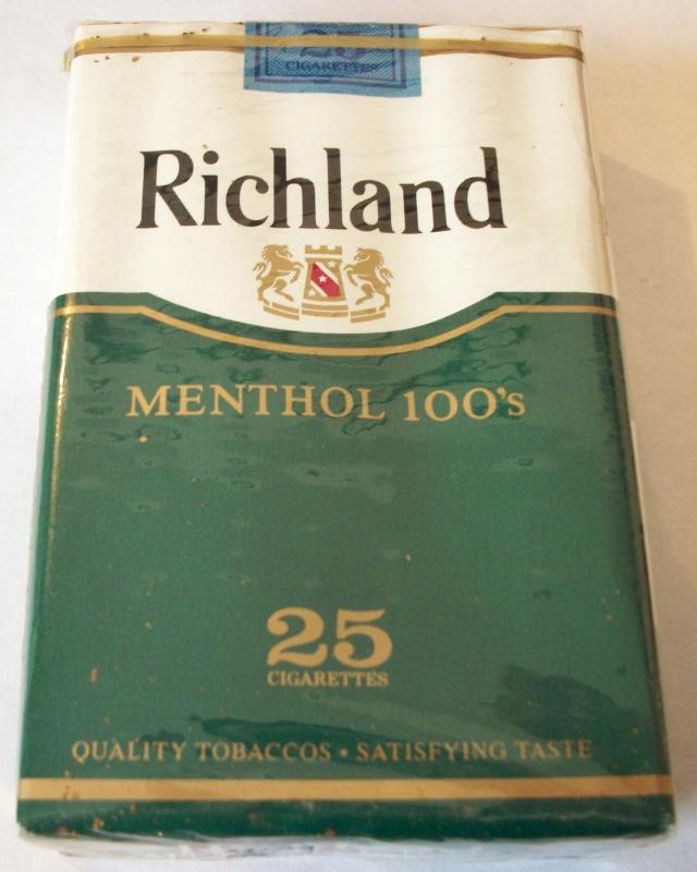 Richland Menthol 100s 25-pack - Vintage American Cigarette Pack