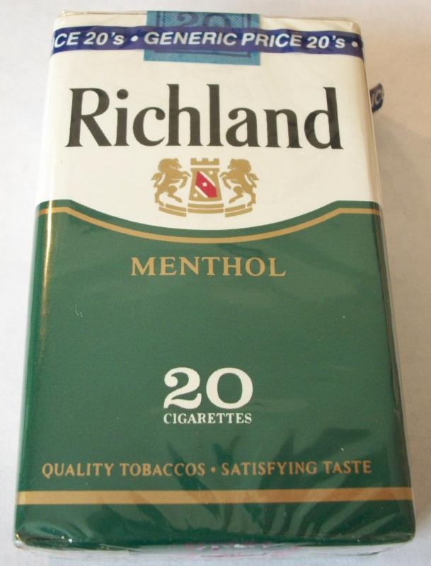 Richland Menthol King Size - Vintage American Cigarette Pack