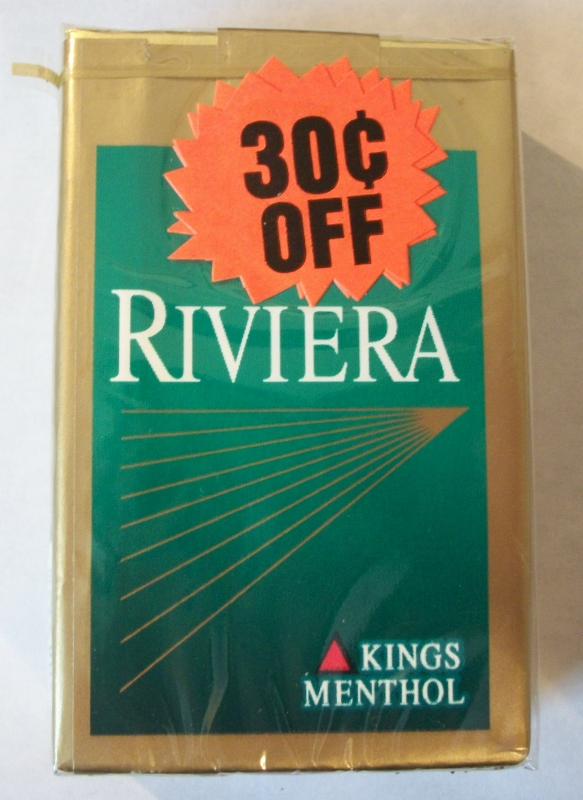Riviera Lights Kings Menthol with coupon - Vintage American Cigarette Pack