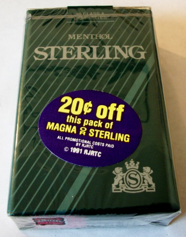 Sterling Menthol King Size with coupon - Vintage American Cigarette Pack