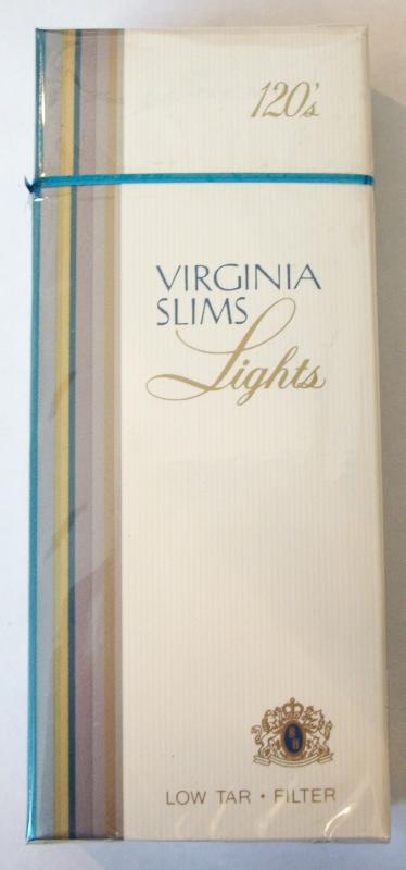 Virginia Slims Lights 120s Filter (Version 2) - Vintage American Cigarette Pack